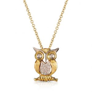 Yellow & White Gold Owl Diamond Pendant