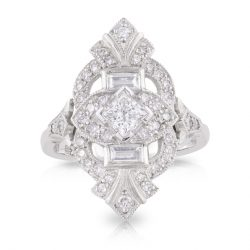 Princess Diamond with Art Deco Diamond Halo