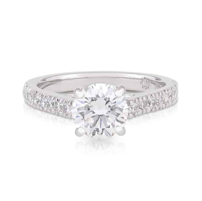 Diamond Round Brilliant 4 Claw Diamond Shoulder Engagement Ring