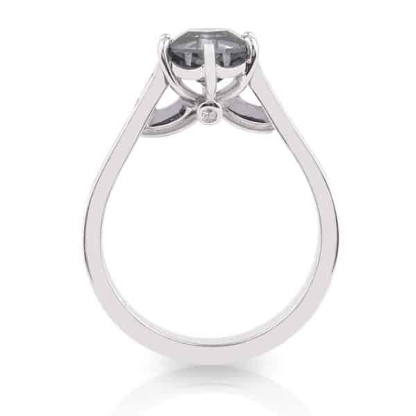 Hex cut grey spinel and diamond engagement ring