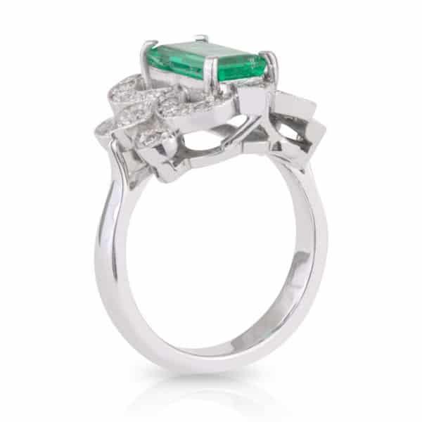 Long Emerald Cut Emerald and Diamond Art Deco Dress Ring