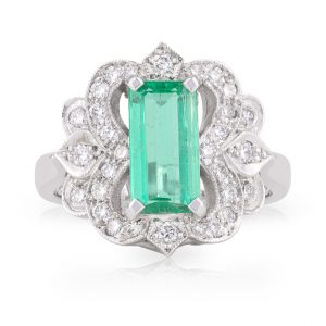 Long Emerald Cut Emerald and Diamond Art Deco Dress Ring