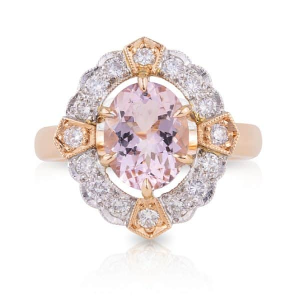 Oval Morganite and Art Deco Diamond Dress Ring