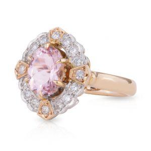 Oval Morganite and Art Deco Diamond Dress Ring
