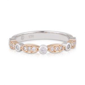Ladies Rose and White Gold Diamond Art Deco Wedding Band