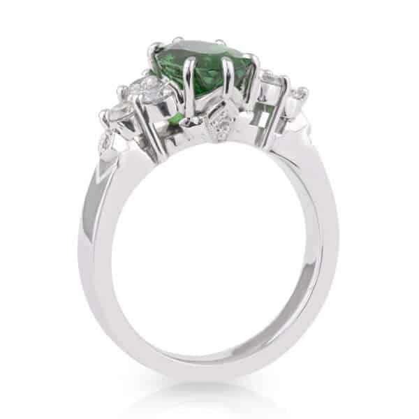 Oval Tsavorite Garnet Diamond Dress Ring
