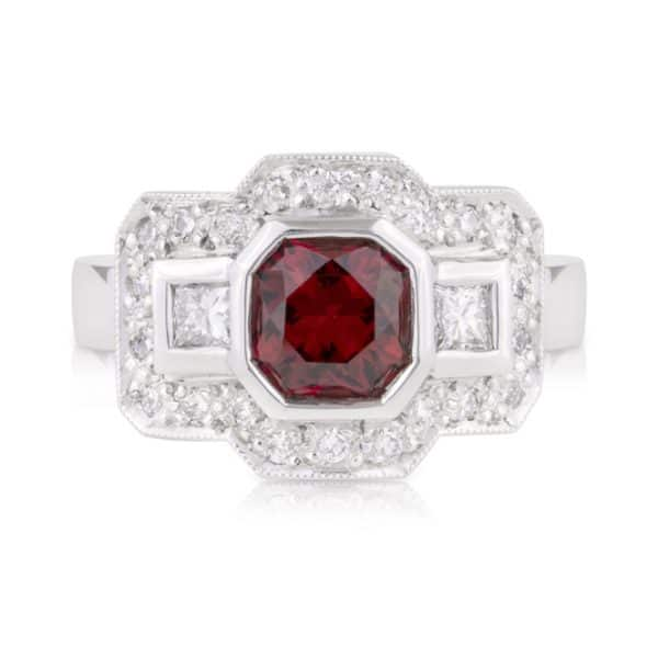 Red Spinel Diamond Engagement Ring