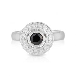 Round Black Spinel and Diamond Ring