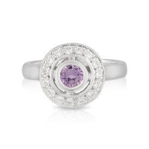 Round Pink Sapphire and Diamond Ring