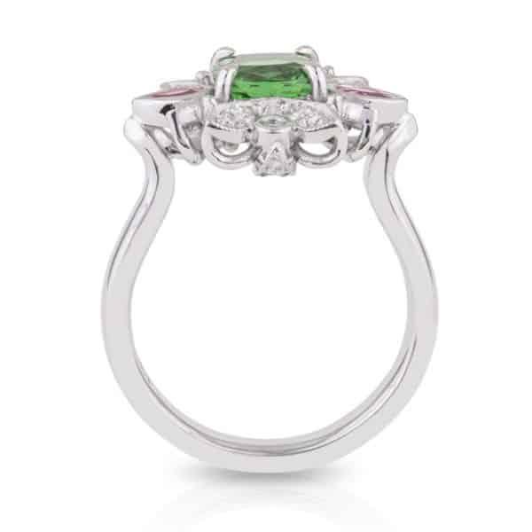Tsavorite Garnet Pink Spinel Ring