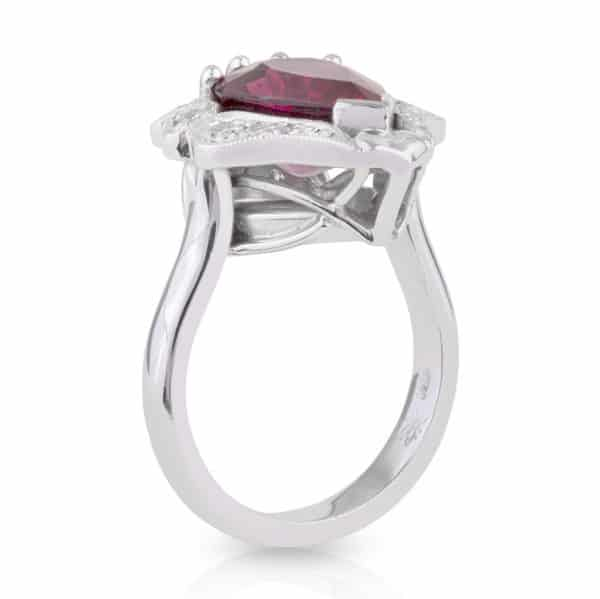 Pear Rubellite Diamond Ring