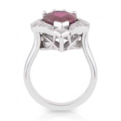 Pear Rubellite Diamond Ring