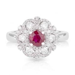 Burmese Ruby and Diamond Halo Dress Ring