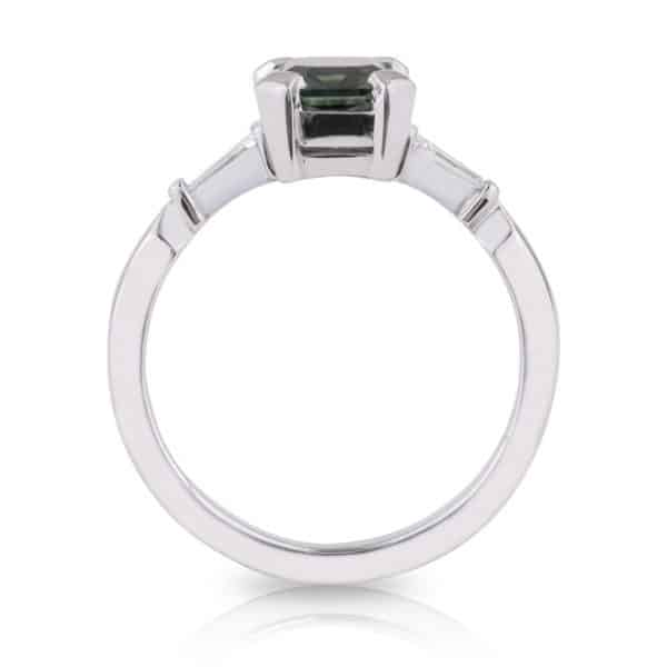 Emerald Parti Sapphire and Tapered Baguette Diamond Engagement Ring