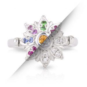 Spinning Engagement Ring with Coloured Gems and Diamonds