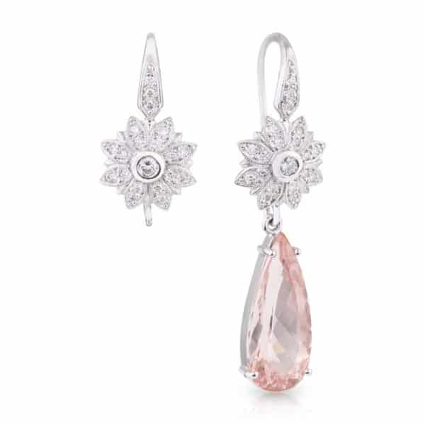 18ct White Gold Transitional Tear Drop Morganite and Diamond Earrings.